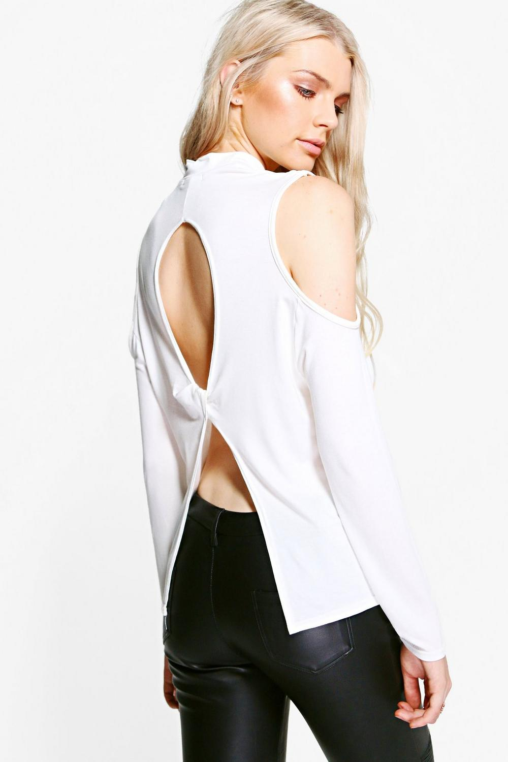 Heather High Neck Cold Shoulder Open Back Top