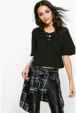 Laura Lace Up Swing Top