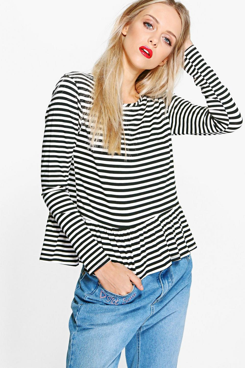 Giana Stripe Long Sleeve Ruffle Hem Top