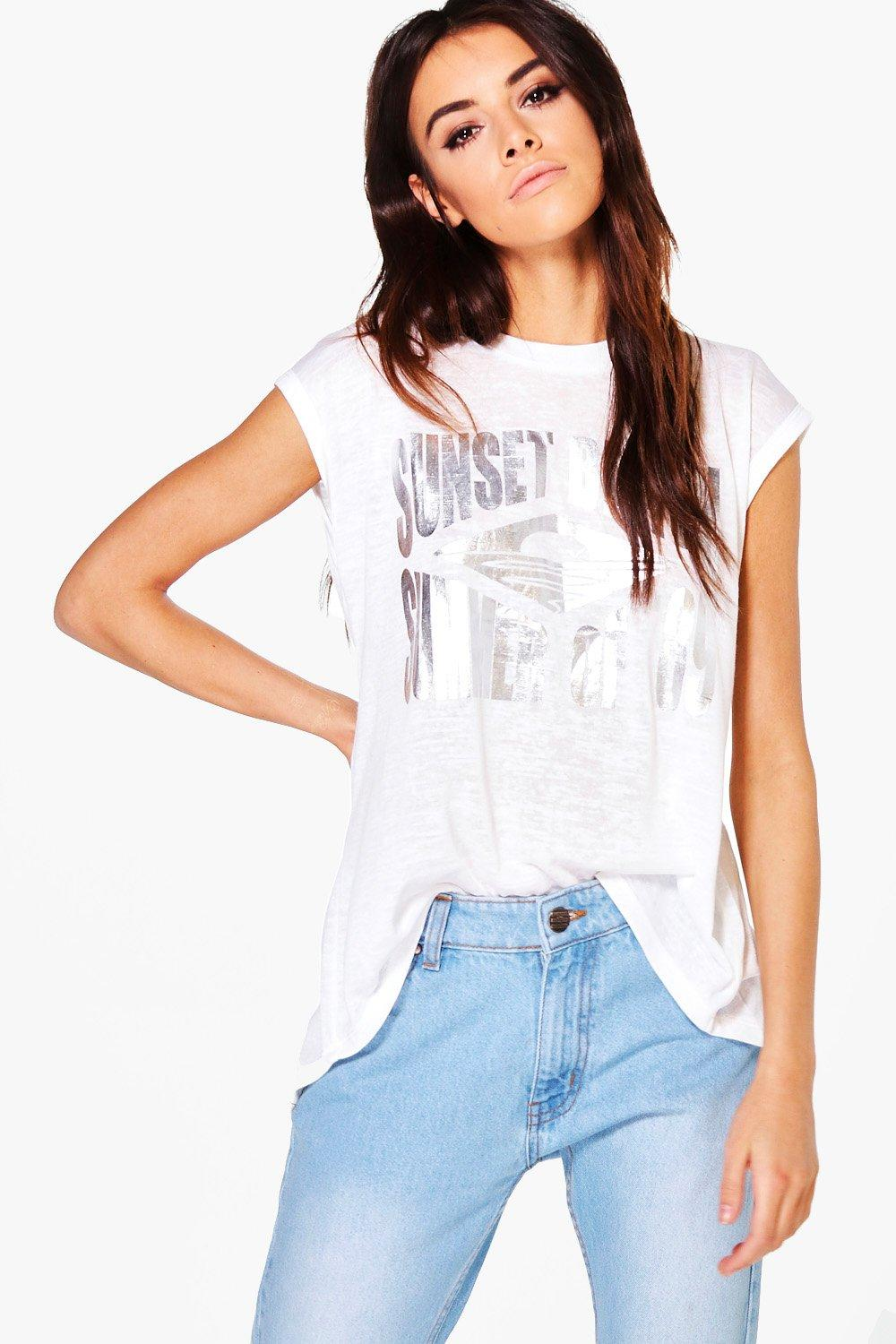 Colette Metallic Slogan T-Shirt