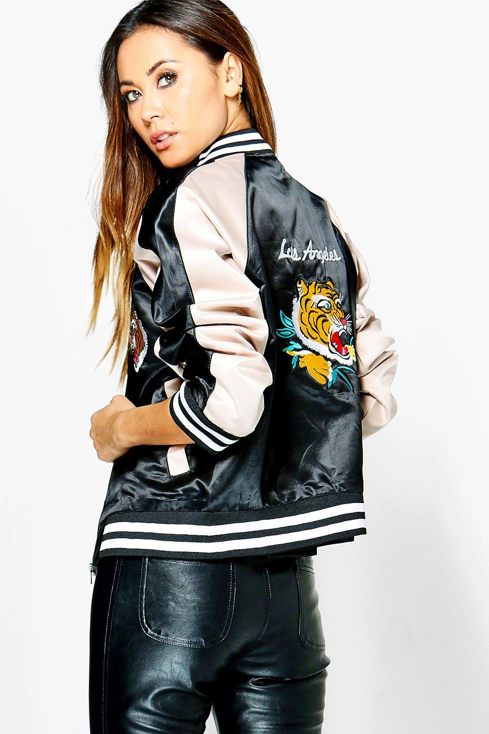 Lily Embroidered Oriental Satin Bomber