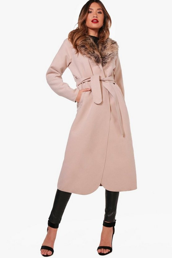 Paige Faux Fur Collar Wrap Coat