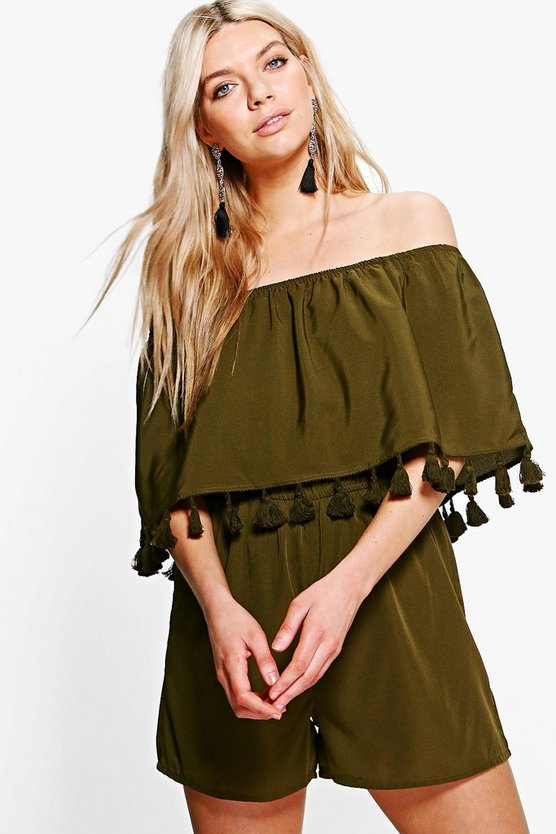 Ria Tassel Trim Off The Shoulder Playsuit
