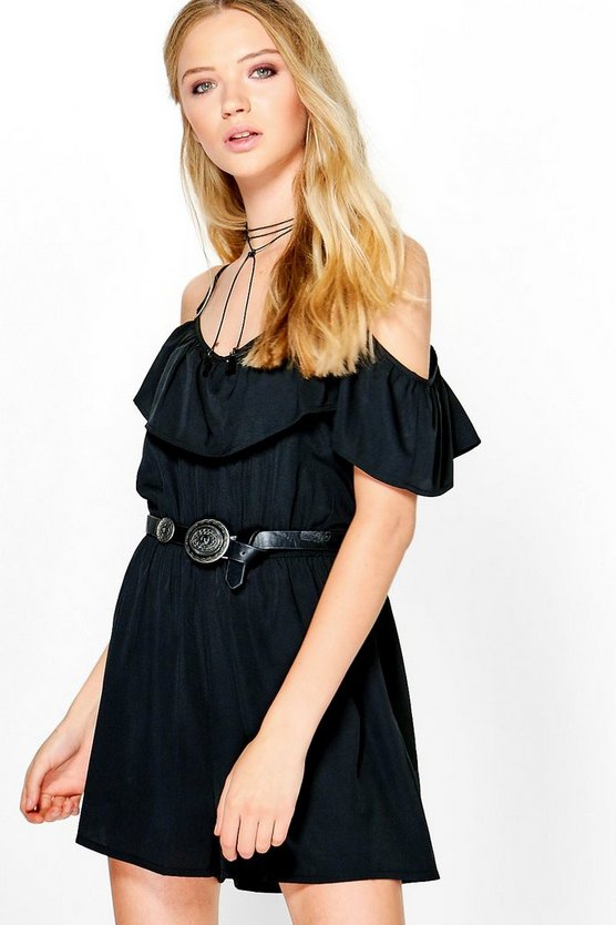 Jenny Ruffle Cold Shoulder Playsuit