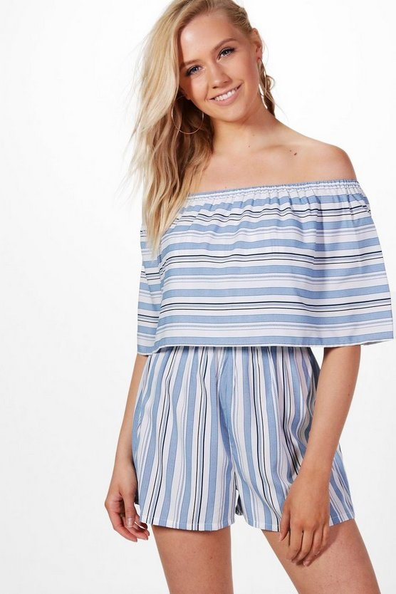 Julia Frill Bandeau Striped Playsuit