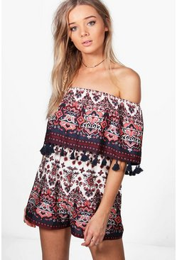 Sophie Tassel Trim Shoulder Print Playsuit