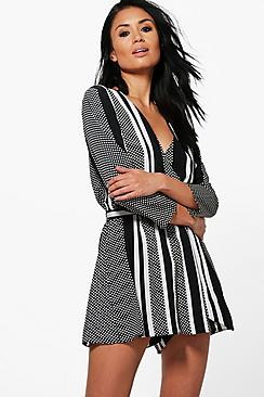 Alison Spot and Stripe Wrap Front Playsuit