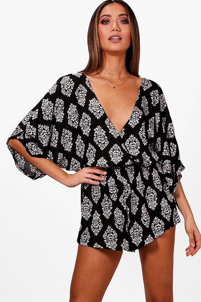 Lily Wrap Front Batwing Playsuit