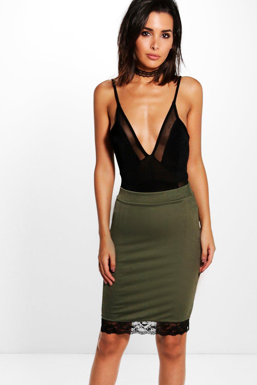 Contrast Lace Hem Crepe Midi Skirt  khaki