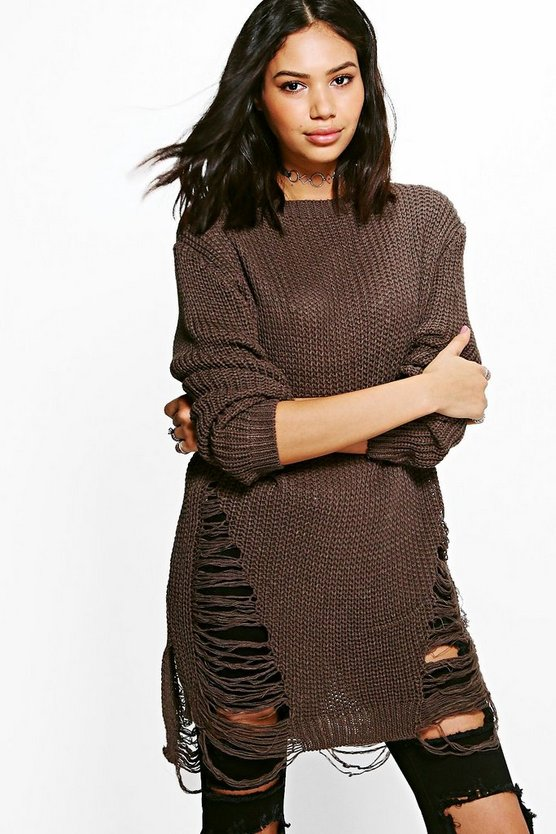 Mia Distressed Oversized Jumper