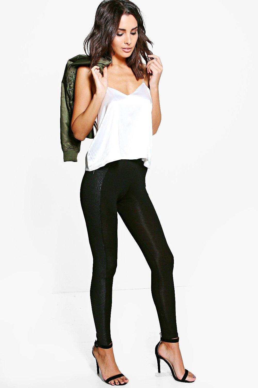 Sara Snake Skin Leather Look Panel Leggings black