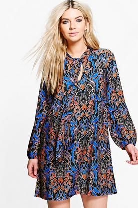 Fiona Tie Front Printed Shift Dress