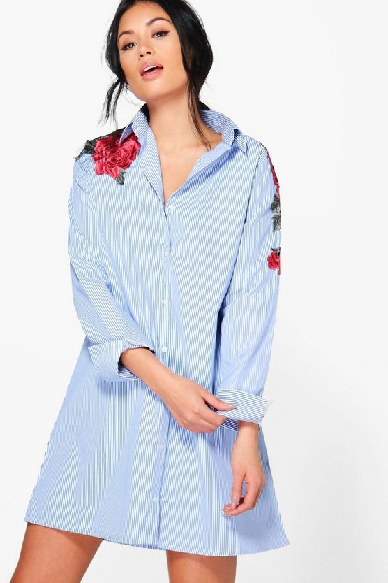 Fleur Embroidered Shirt Dress