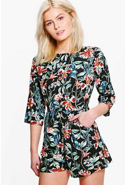 Amy 3/4 Sleeve Floral Playsuit