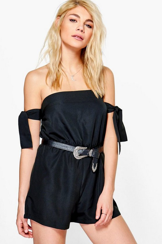 Karina Tie Cut Off Shoulder Playsuit