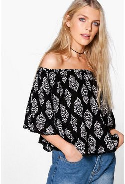 Mary Mono Print Woven Off The Shoulder Top