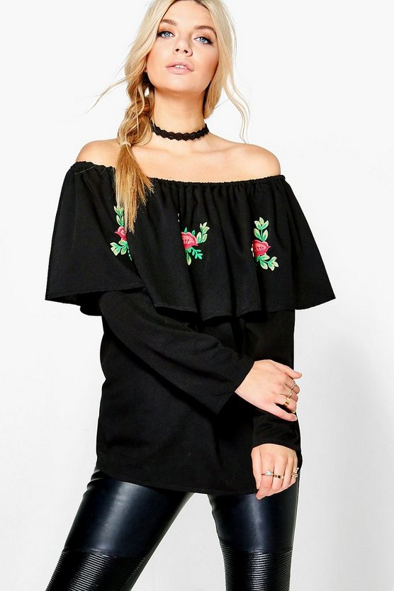 Eliza Embroidered Off The Shoulder Top