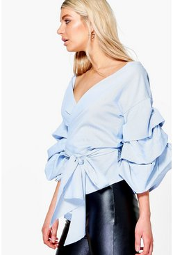 Beth Boutique Woven Exaggerated Sleeve Blouse