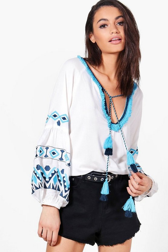 Betty Boutique Embroidered Woven Top