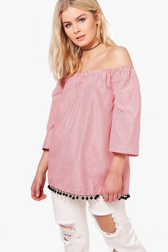 Selina Stripe Pom Pom Hem Off The Shoulder Top
