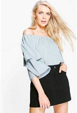 Keeley Stripe Ruffle Off The Shoulder Woven Top
