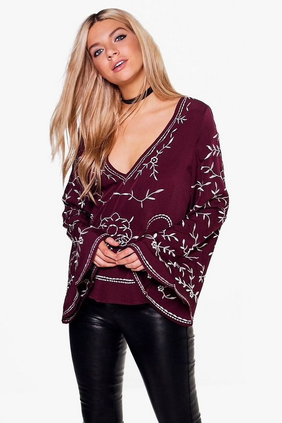 Ria Boutique Embroidered Woven Wide Sleeve Top