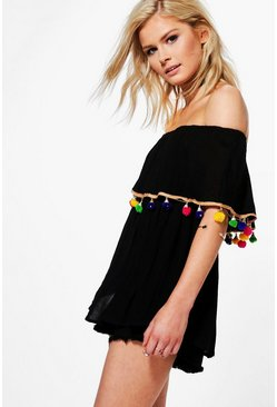 May Mixed Pom Pom Hem Woven Off The Shoulder Top