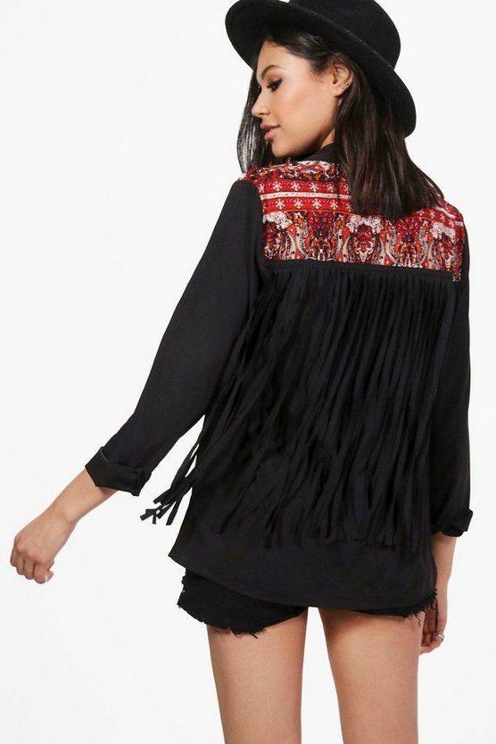 Elizabeth Boutique Embellished Tassel Back Shirt