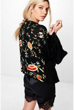 Poppy Boutique Frill Back Embroidered Kimono