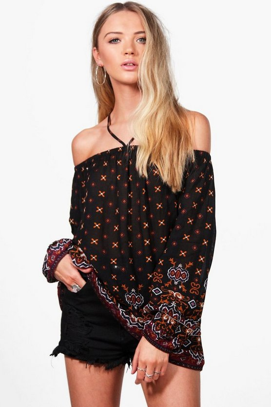 Piper Paisley Strappy Off The Shoulder Woven Top