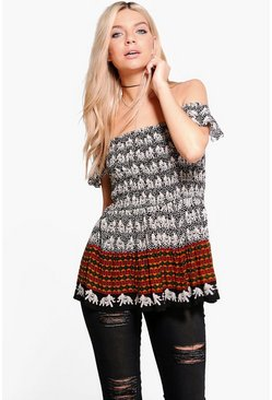 Amelia Mixed Print Bardot Top