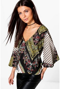 Katie Mixed Paisley Woven Top