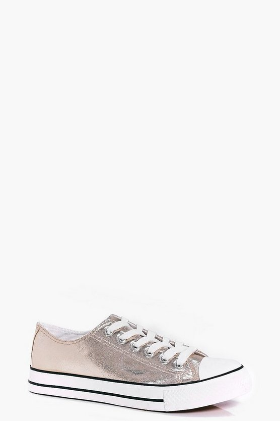 Olivia Metallic Lace Up Trainers