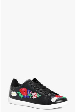 Jessica Floral Embroidered Lace Up Trainer