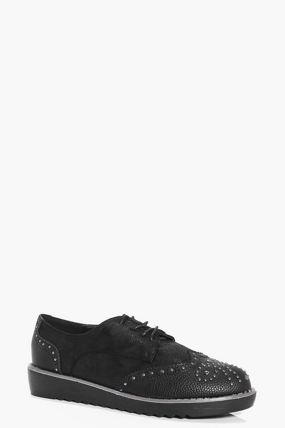 Lucy Studded Lace Brogue