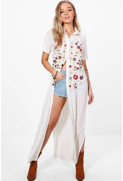 Grace Boutique Full Embroidered Maxi Shirt