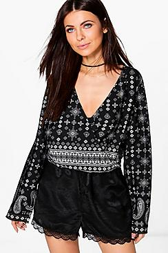 Leanne Mixed Print Wrap Front Blouse