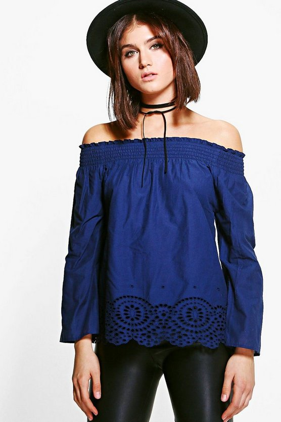 Vicky Woven Hem Detail Off The Shoulder Top
