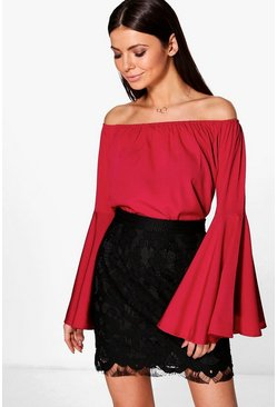 Maria Solid Woven Flute Sleeve Top