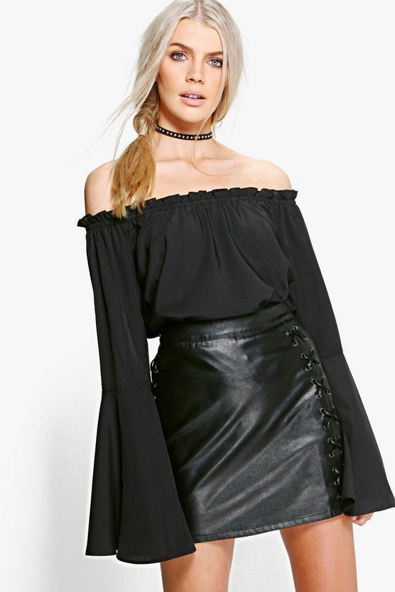 Mia Woven Frill Cuff Off The Shoulder Top