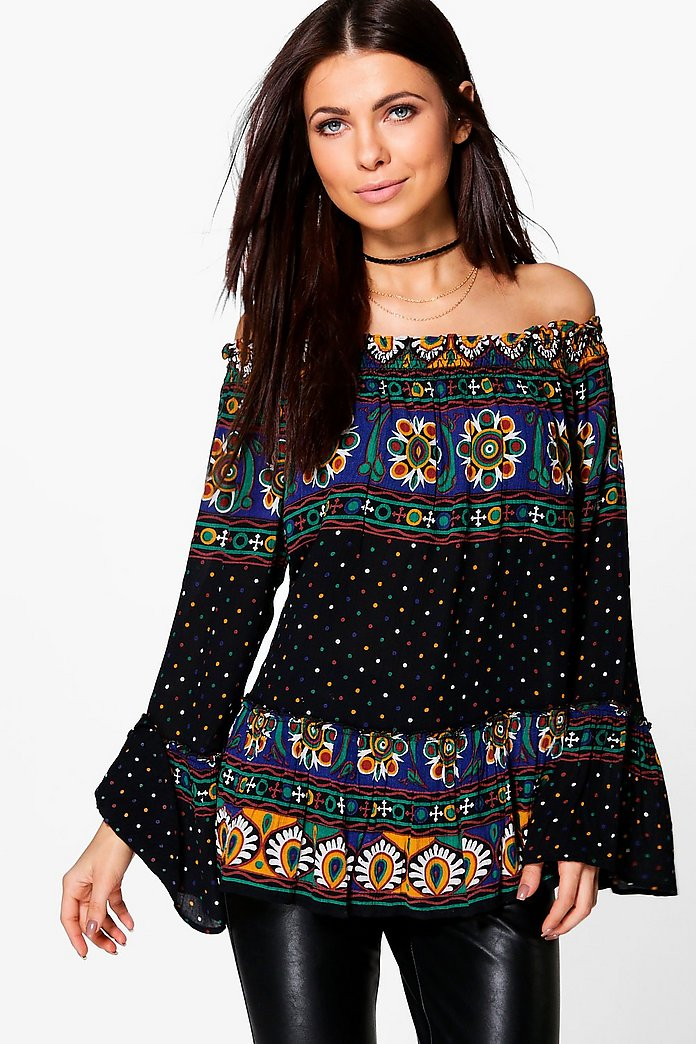 Ashleigh Mixed Print Off The Shoulder Top