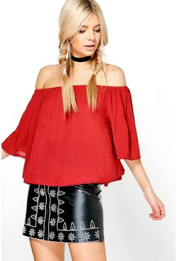 Tillie Crochet Hem Off The Shoulder Top