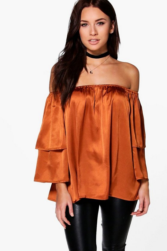 Lucy Satin Ruffle Off The Shoulder Top
