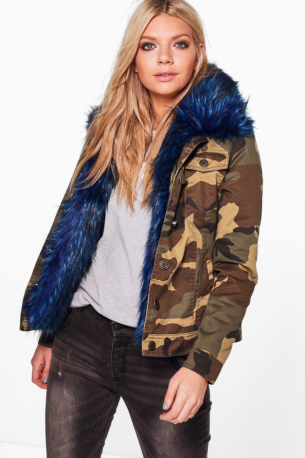 Charlotte Faux Fur Trim Camo Jacket