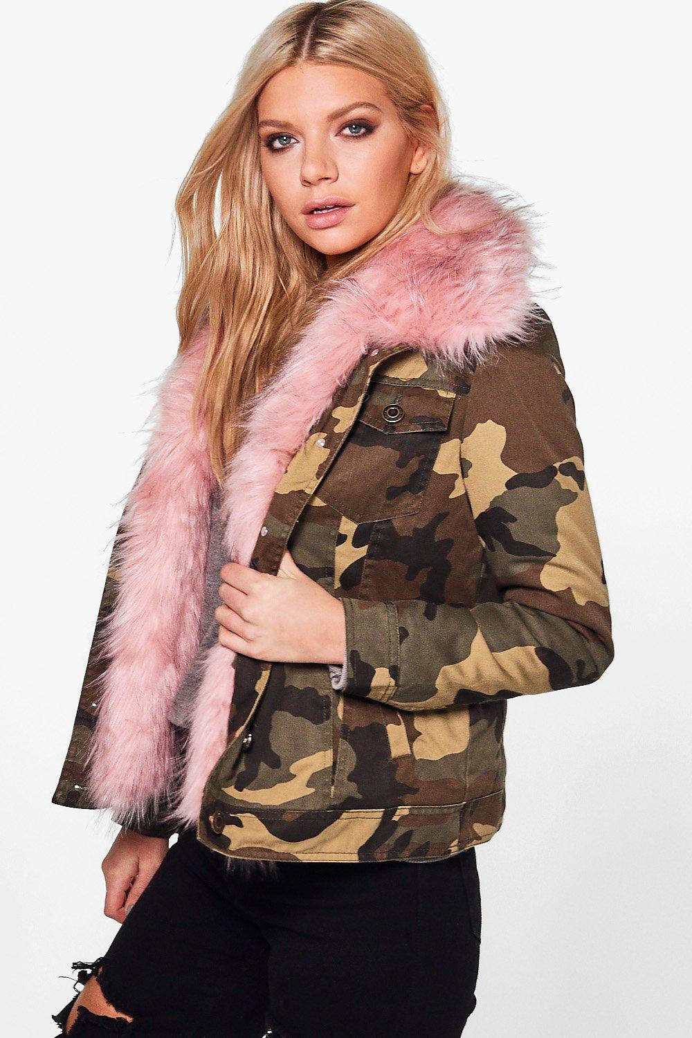 Victoria Faux Fur Trim Camo Jacket