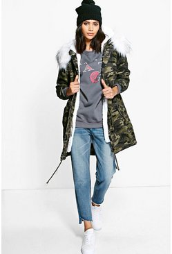 Emma Boutique Camo Faux Fur Parka