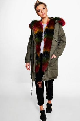 Isla Boutique Rainbow Faux Fur Parka