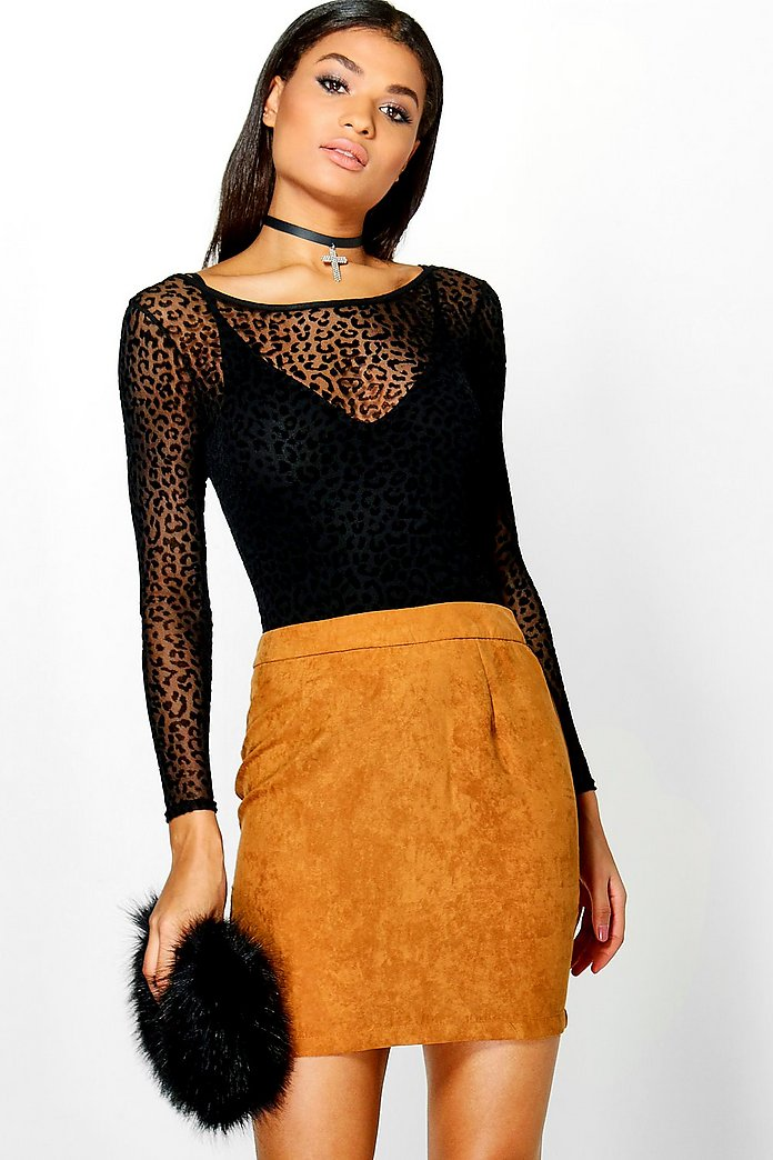 Ilia Woven Soft Suedette A Line Mini Skirt