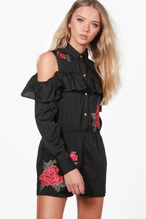 Ria Open Shoulder Applique Playsuit