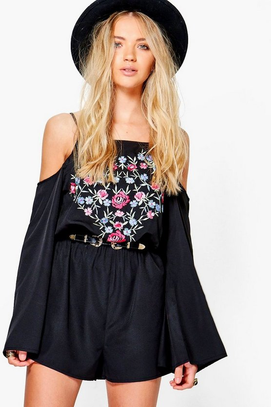 Jess Embroidered Cold Shoulder Playsuit